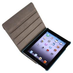 Navy Blue 360 Swivel Leather Case/ Crystal Case for Apple iPad 2/ 3 - Thumbnail 2