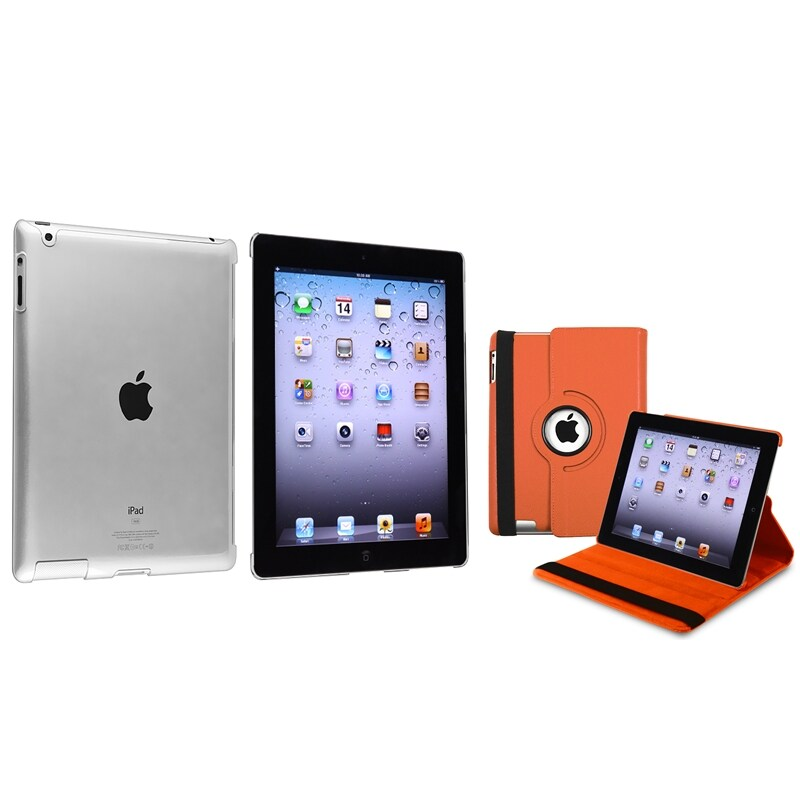 INSTEN Orange 360 Swivel Leather Tablet Case Cover/ Crystal Tablet Case Cover for Apple iPad 2/ 3