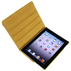Yellow 360 Swivel Leather Case/ Crystal Case for Apple® iPad 2/ 3 - Thumbnail 1
