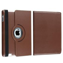 Brown 360 Swivel Leather Case/ Crystal Case for Apple® iPad 2/ 3