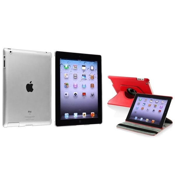 INSTEN Red 360 Swivel Leather Tablet Case Cover/ Crystal Tablet Case Cover for Apple iPad 2/ 3/ 4