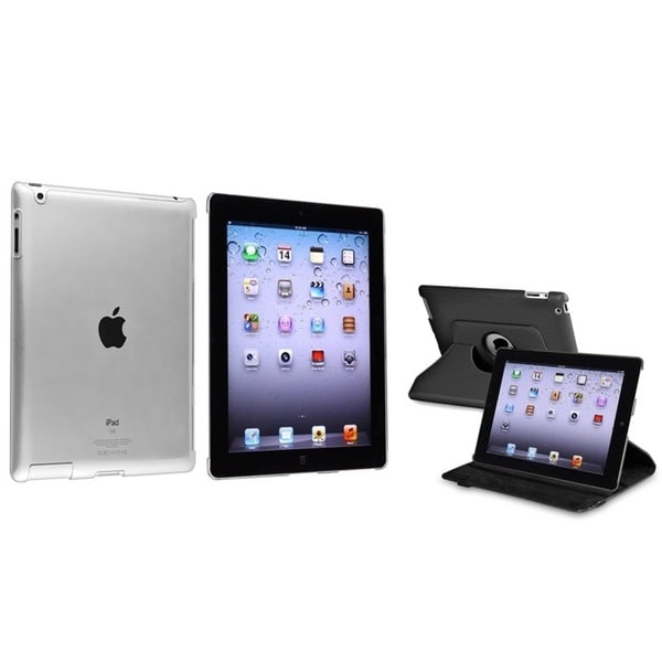 INSTEN Black 360 Swivel Leather Tablet Case Cover/ Crystal Tablet Case Cover for Apple iPad 2/ 3/ 4