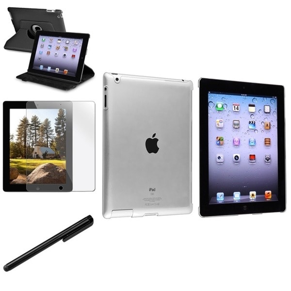 INSTEN Leather Tablet Case Cover/ Crystal Tablet Case Cover/ Screen Protector/ Stylus for Apple iPad 3/ 4