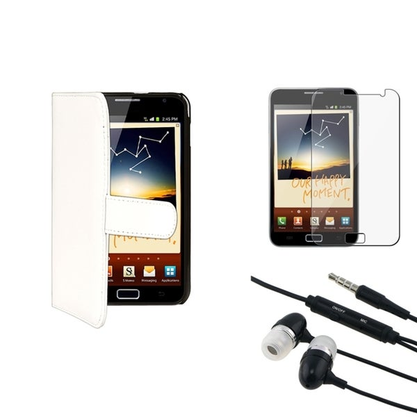 White Case/ Screen Protector/ Headset for Samsung© Galaxy Note N7000