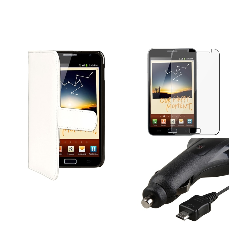 White Case/Screen Protector/Retractable Charger for Samsung Galaxy Note N7000
