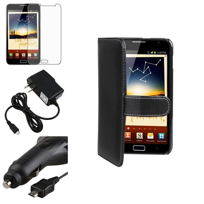 Leather Case/Screen Protector/Chargers for Samsung Galaxy Note N7000