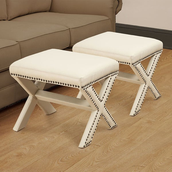 Zoey Crossed Legs Bone White Ottoman (Set of 2)