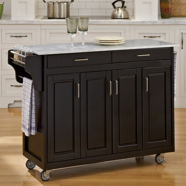 Create-a-Cart Black Finish with Marble Top