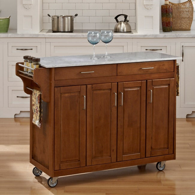 Create-a-Cart Warm Oak Finish with Marble Top - Thumbnail 0