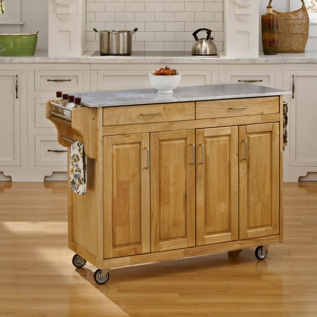Create-a-Cart Natural Finish with Marble Top