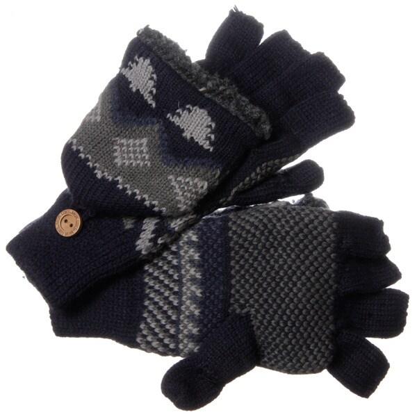 Muk Luks Men's Nordic Knit Blue Flip Sherpa Fingerless Gloves