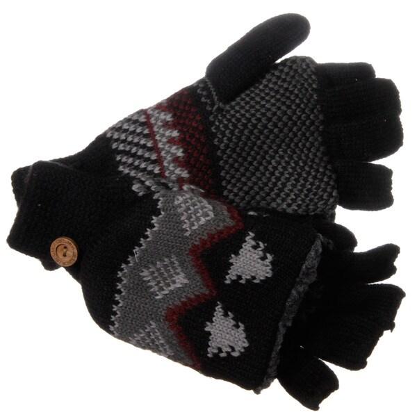 Muk Luks Men's Nordic Knit Black Flip Sherpa Fingerless Gloves