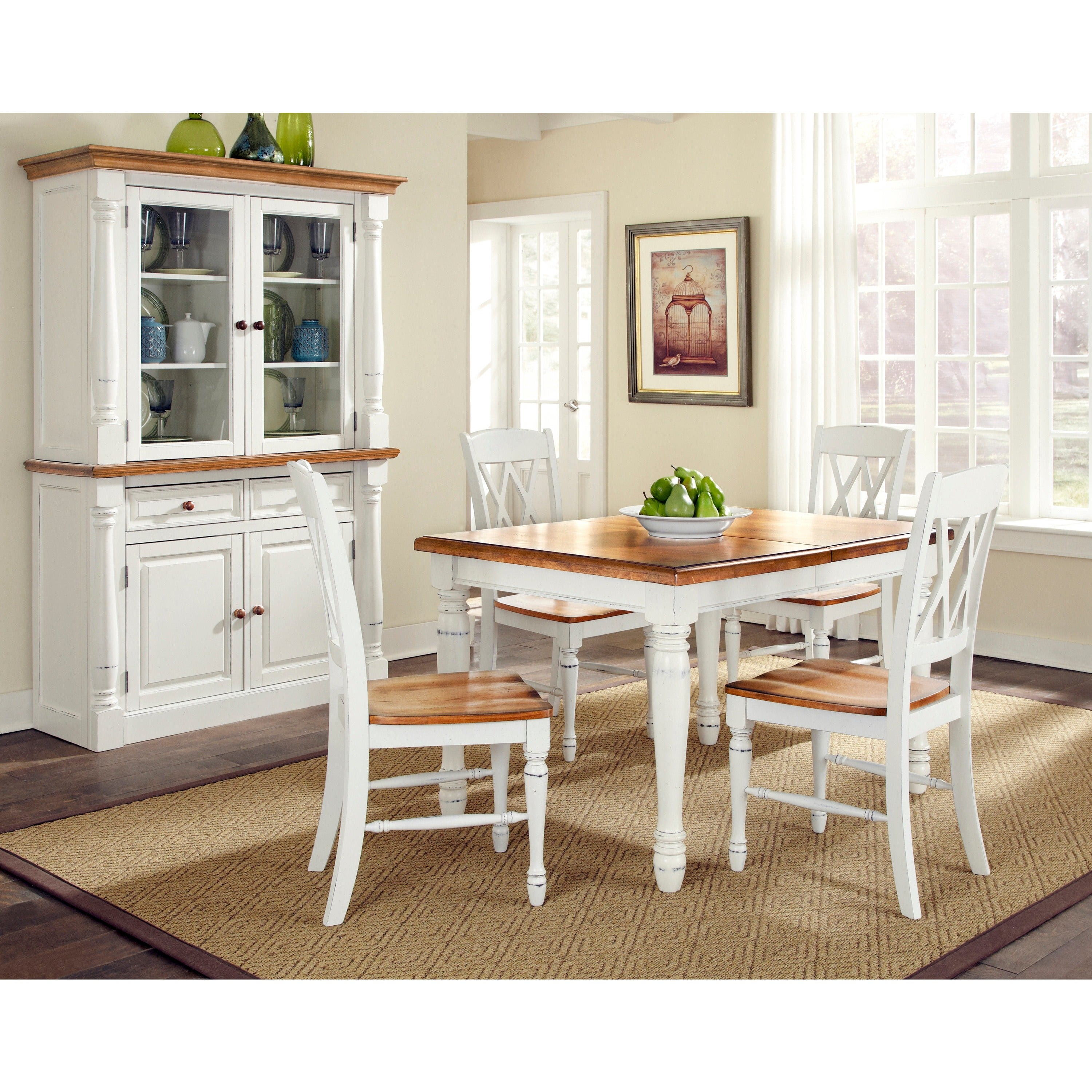 Monarch Rectangular Dining Table with Four Double X-back ...