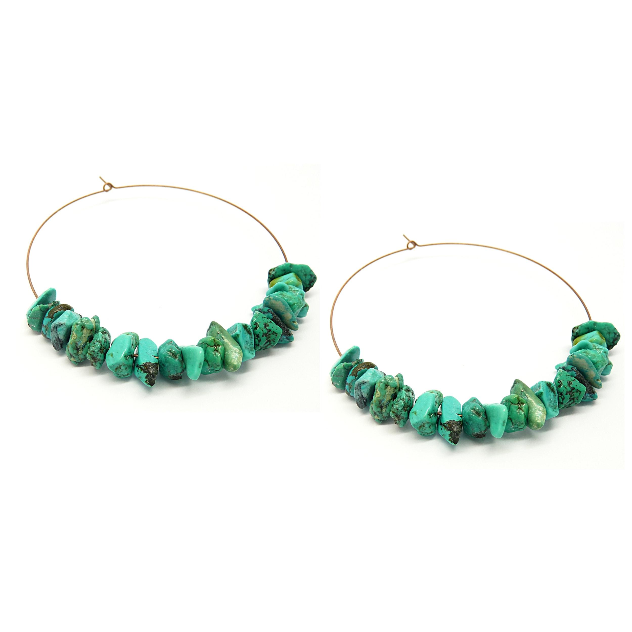 Pretty Little Style Brass Turquoise Hoop Earrings