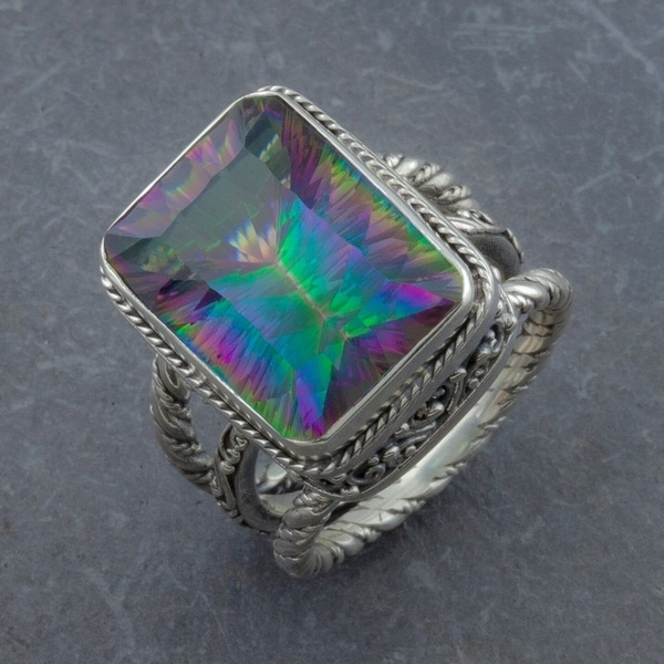 Handmade Sterling Silver Mystic Topaz Cawi Ring (Indonesia)