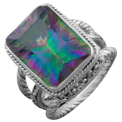 Handmade Sterling Silver Mystic Topaz Cawi Ring (Bali)
