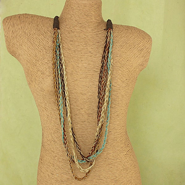 Handcrafted Braided Cord and Metal Beads Necklace (India)