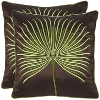 Safavieh Leaf 18-inch Brown/ Green Decorative Pillows (Set of 2)