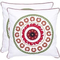 Safavieh Celebrations 18-inch White/ Red Decorative Pillows (Set of 2)