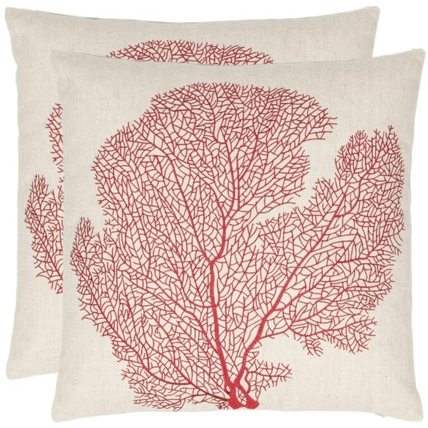 Safavieh Reef 18-inch Beige/ Red Decorative Pillows (Set of 2) - Free Shipping Today - Overstock ...