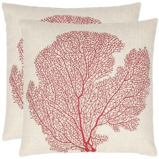 Safavieh Reef 18-inch Beige/ Red Decorative Pillows (Set of 2)|https://ak1.ostkcdn.com/images/products/7110202/Reef-18-inch-Beige-Red-Decorative-Pillows-Set-of-2-P14606741.jpeg?impolicy=medium