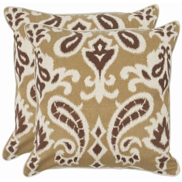 Safavieh Paisley 18-inch Brown Decorative Pillows (Set of 2)