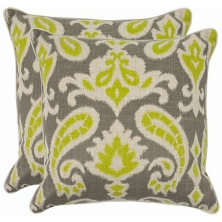 Safavieh Paisley 18 Inch Grey/ Lime Decorative Pillows (Set Of 2)