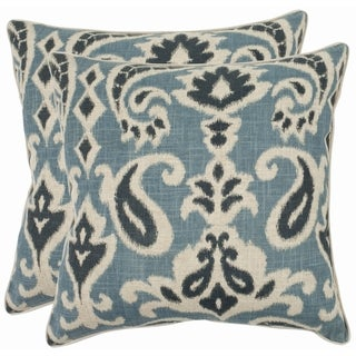 Safavieh Paisley 18-inch Blue Decorative Pillows (Set of 2)