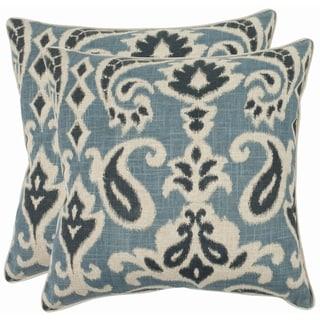 High Quality Safavieh Paisley 18 Inch Blue Decorative Pillows (Set Of 2)