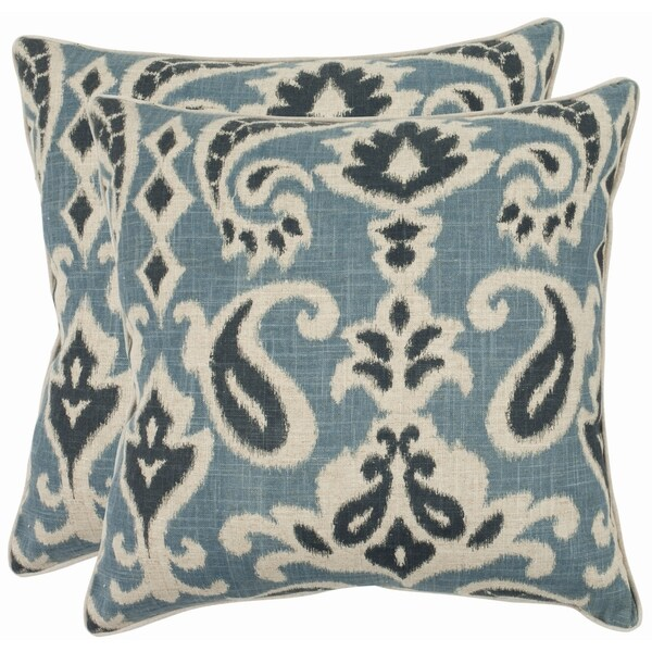 safavieh paisley 22 inch blue decorative pillows set of 2