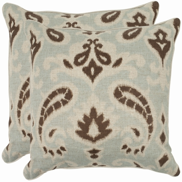 Safavieh Paisley 18-inch Light Grey/ Brown Decorative Pillows (Set of 2)