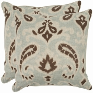 Safavieh Paisley 22-inch Light Grey/ Brown Decorative Pillows (Set of 2)