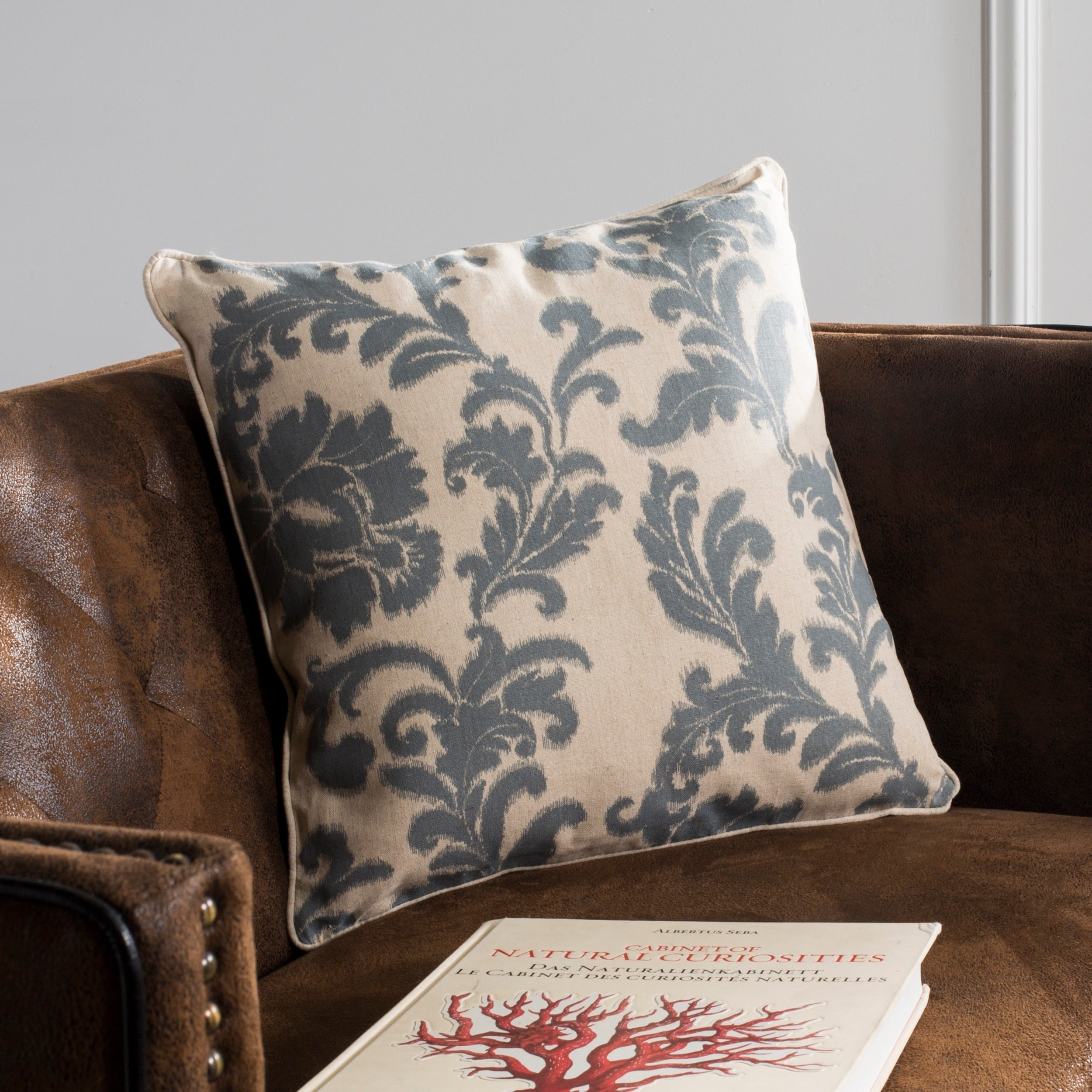 Safavieh Acanthus Leaves 18,inch Ivory/ Slate Blue Decorative Pillows (Set  of 2)
