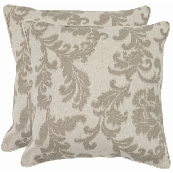 Safavieh Acanthus Leaves 22-inch Ivory/ Grey Decorative Pillows (Set of 2)