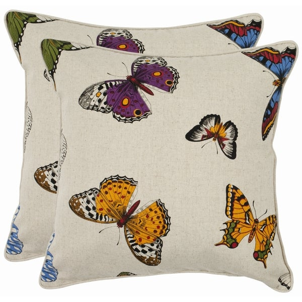 Safavieh Butterflies 22-inch Decorative Pillows (Set of 2)