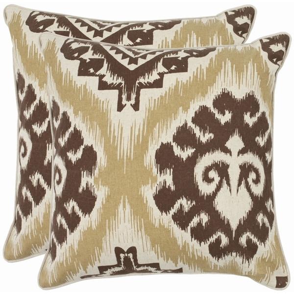 Safavieh Damask 18-inch Beige/ Almond Brown Decorative Pillows (Set of 2)