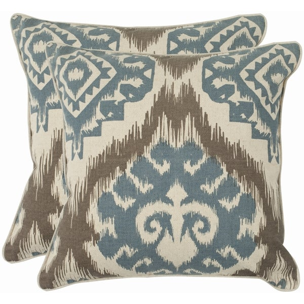 Safavieh Damask 18-inch Beige/ Blue Decorative Pillows (Set of 2)