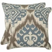 Safavieh Damask 22-inch Beige/ Blue Decorative Pillows (Set of 2)