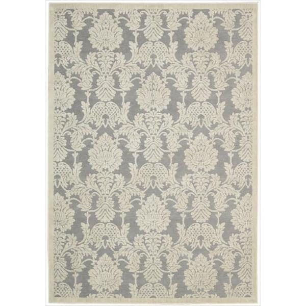 """Nourison Graphic Illusions Damask Silver Rug - 7'9"""" x 10'10"""""""