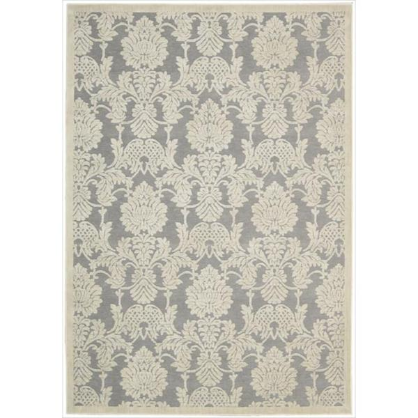 Nourison Graphic Illusions Damask Silver Rug (7'9 x 10'10)