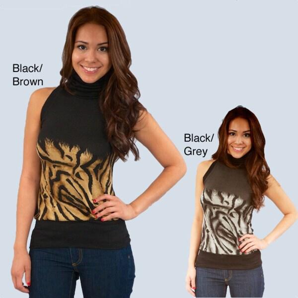 Madison Paige Women's Animal Print Knit Sleeveless Turtleneck Top