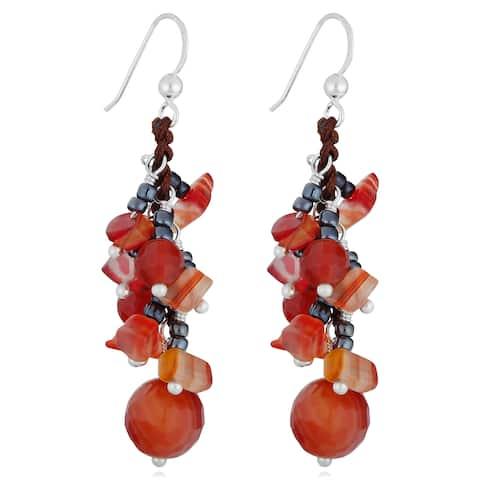 Handmade Red Agate Beads Silver Cluster Earrings (Thailand)