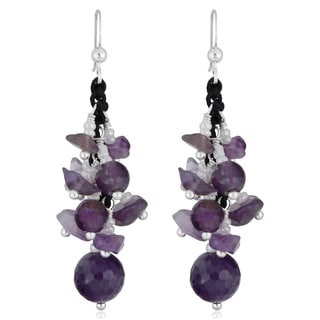 Handmade Amethyst Beads Sterling Silver Dangle Earrings (Thailand)