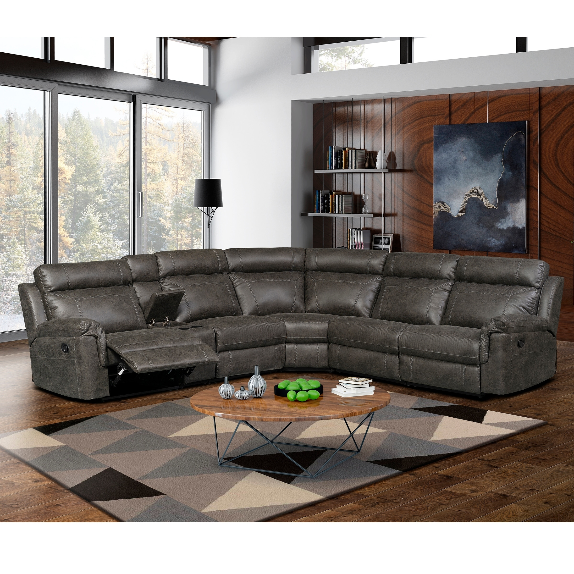 Merveilleux Nicole Brown Large 6 Piece Family Sectional With 3 Recliners, Cup Holders,  And