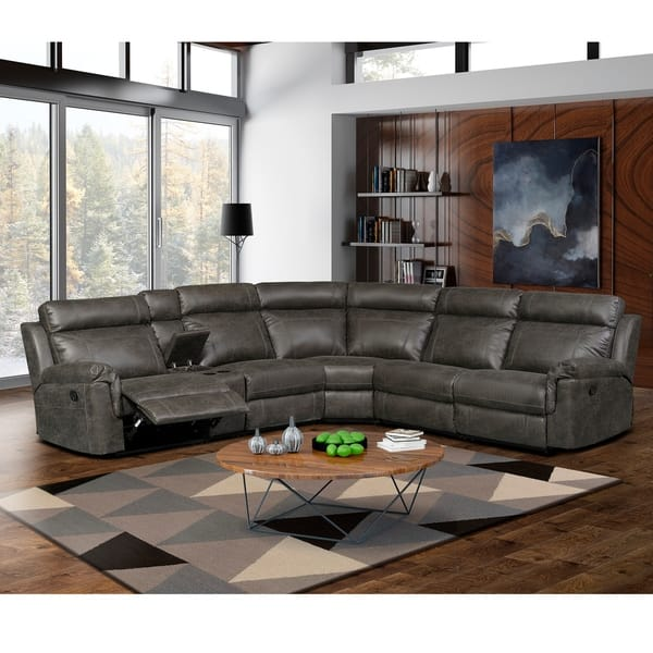 Shop Nicole Reclining Leather Upholstered Sectional Sofa ...