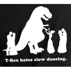 Men's Black 'T-Rex Hates Slow Dancing' T-shirt - Thumbnail 2