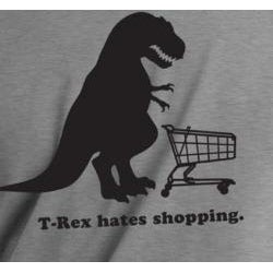 T-Rex Hates Shopping Men's Grey Vinyl Graphic T-Shirt - Thumbnail 1
