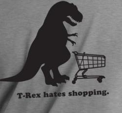 T-Rex Hates Shopping Men's Grey Vinyl Graphic T-Shirt - Thumbnail 2
