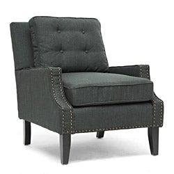 Baxton Studio Norwich Dark Gray Linen Lounge Chair