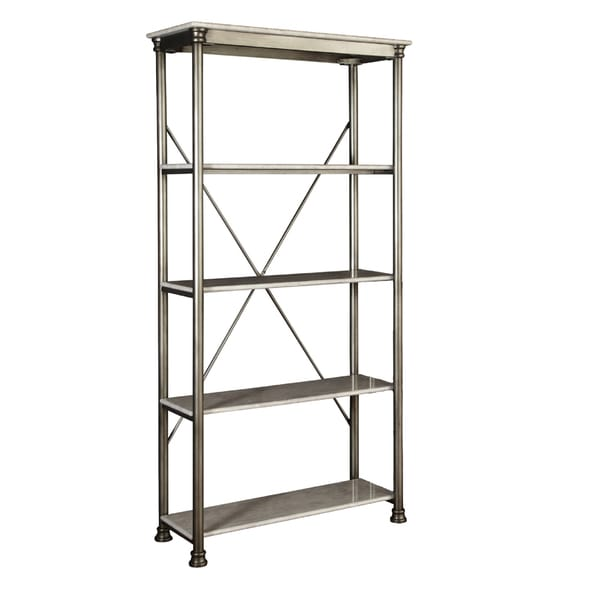The orleans 39 5 tier multi function marble shelves by home for Furniture of america nara contemporary 6 shelf tiered open bookcase